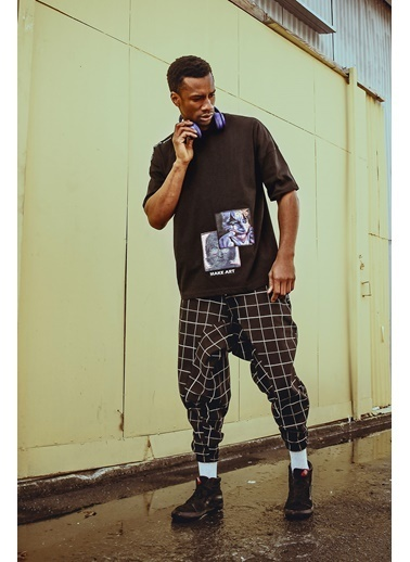 XHAN Siyah Art Detaylı Oversize T-Shirt 1Kxe1-44601-02 Siyah